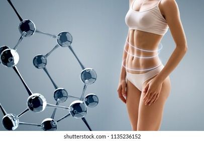 Woman with perfect body near molecule chain. Slimming concept. Improvement of metabolism concept.