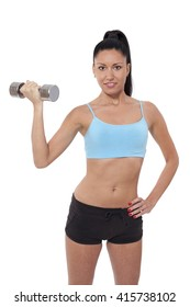 woman with a perfect body training with weights