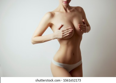 woman perfect figure - liposuction and fat loss concept, white background