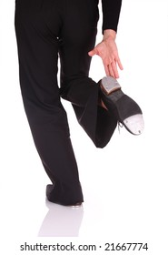 Woman performing a movement of Tap Dance