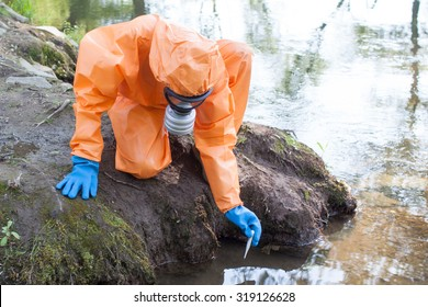 Woman performing water sampling and analysis outside