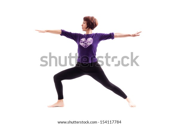 Woman performing yoga exercises,  on white background