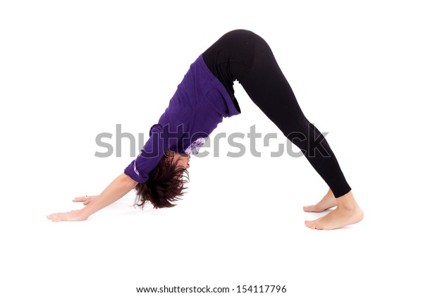 Woman performing yoga exercises,  on white background