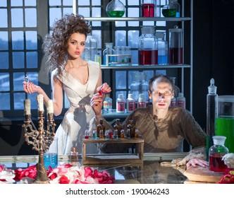 Woman and perfumer