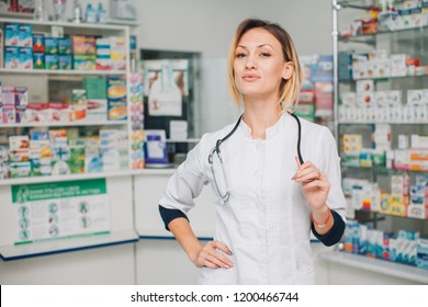 woman pharmacist working in drugstore at hospital pharmacy