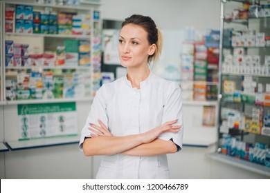 woman pharmacist working in drugstore at hospital pharmacy