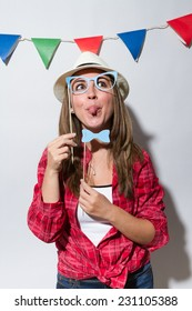 Woman in a Photo Booth party gesticulating
