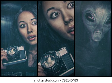 Woman with photocamera and alien behind her