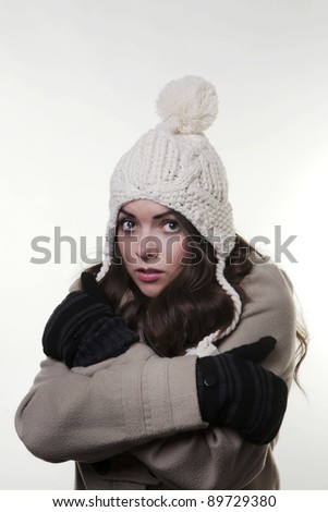 7d56488ae woman photographed in a hat a coat looking cold and ready for the winter  weather