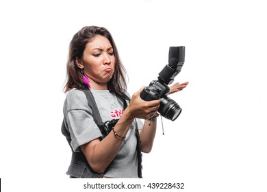 Woman photographer isolated surprised of photos on photosession.