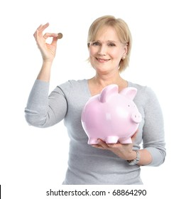 Woman with a pig bank. Isolated over white background