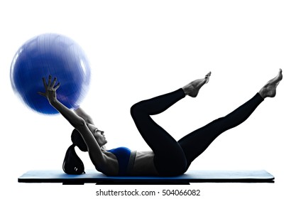 woman pilates ball exercises fitness isolated