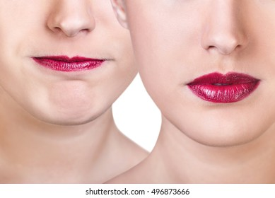 Woman with pinched red lips