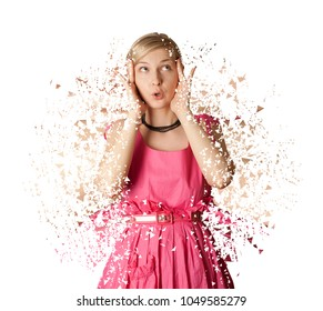 Woman in pink dress isolated on white background. Collapsed and blowing woman shape