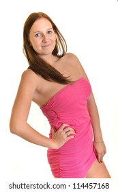 woman in pink dress on white background