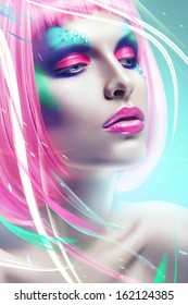 woman with pink hair in blue light and lines