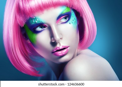 woman with pink lips and hairstyle