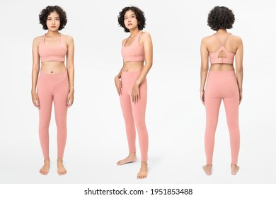 Woman in pink sports bra and leggings with design space set