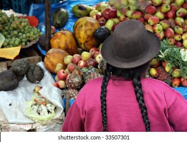 Woman at Pisac Market in Peru