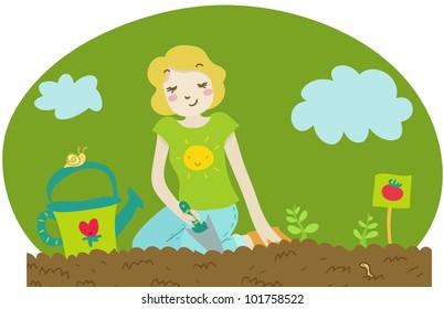 a woman plants some tomato seedlings