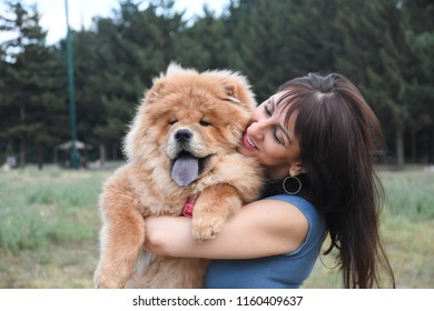 Woman play with chow chow dog in park. Woman and dog in park