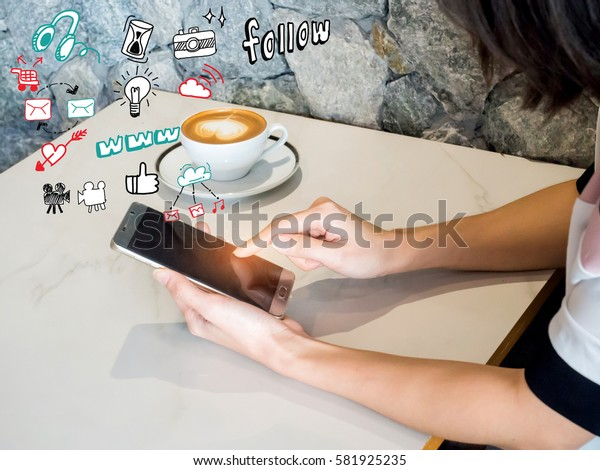 Woman play mobile,tablet  App Development Concept with Doodle design style mobile elements.