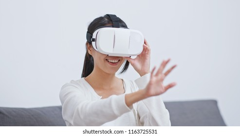 Woman play with VR device