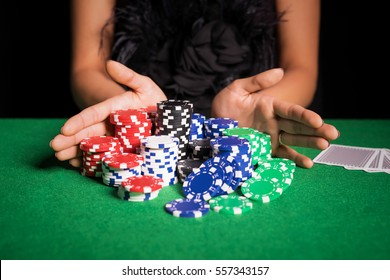 Woman playing poker with all in