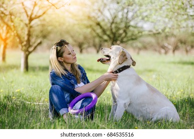 Woman playing with a retriever in the park in summer