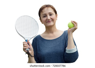 Woman playing tennis isolated on white background.