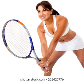 Woman playing tennis - isolated over a white background
