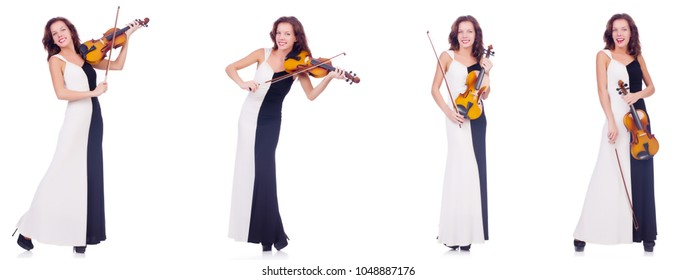 Woman playing violin isolated on white background