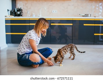 Woman plays with Bengal cat on the floor in the kitchen