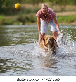 woman plays with her Australian Shepherd dog in the water