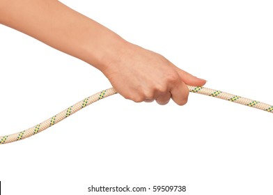 woman plays of pulling of a rope and wins