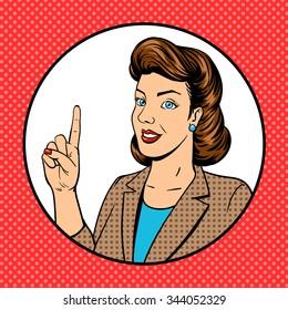 Woman point finger gesture pop art raster illustration. Retro style. Comic book style imitation