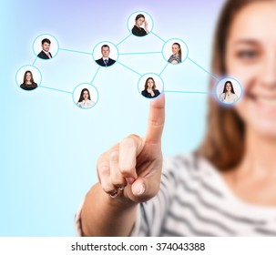 Woman pointing at business person in circle