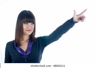 Woman with pointing finger at isolated background