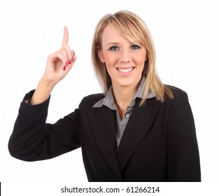 Woman pointing up isolated
