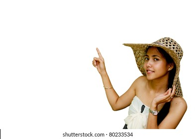 Woman pointing on white background