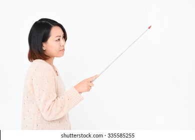 Woman pointing a pointer