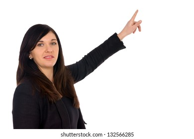 woman pointing at something / Woman