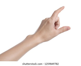 Woman pointing at something on white background, closeup of hand