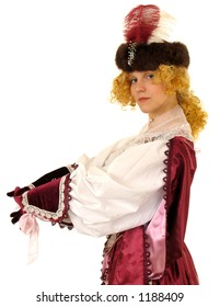 Woman in Polish clothes of 17 century. Isolated image