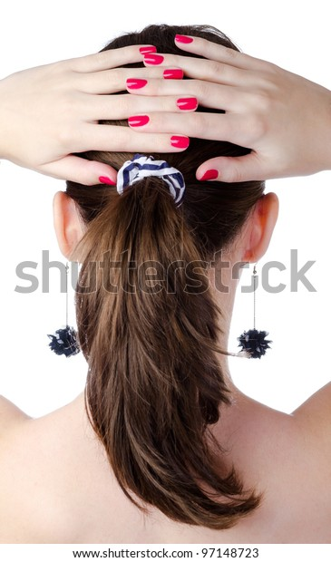Woman ponytail with pink nail isolated