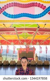 Woman portrait in a amusement park