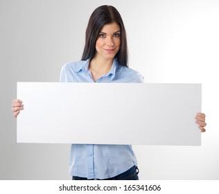 woman portrait with blank white board