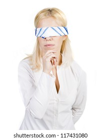 Woman portrait with blindfold on white background