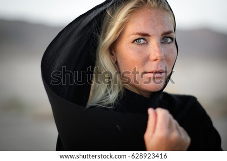 Woman portrait in desert, arabic style, arab world
