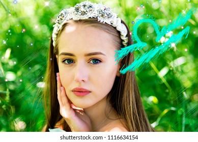 Woman portrait and Libra zodiac sign